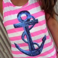 Blue Sequined Striped Anchor Tank Top