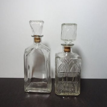 Vintage Clear Glass Liquor or Wine Decanters with Arch Design - Set of 2 - Mid Century Modern/Hollywood Regency Barware