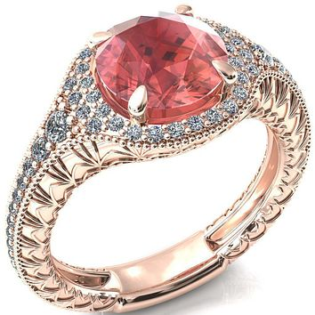 Kylee Round Padparadcha Sapphire Accent Diamond Milgrain and Filigree Design 4 Prong Engagement Ring