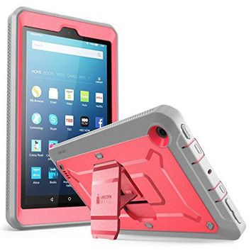 All New Fire 7 Case, SUPCASE Unicorn Beetle PRO Series [Heavy Duty] Full-body Rugged Protective Case Cover with Built-in Screen Protector for Amazon Fire 7 (7th Generation) 2017 Release (Pink/Gray)
