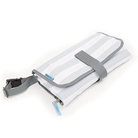 BULA BABY Portable Diaper Changing Pad With Detachable Bag - Grey Stripe