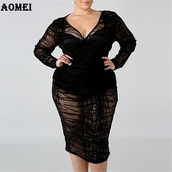 Women Dress V Neck Black Sexy Evening Party Sexy Clubwear See Through Plus Size Long Sleeve Ladies Slim Tunic Tight Spring Robes