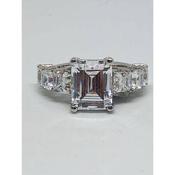 SALE  A Flawless 4.5CT Emerald Cut Halo Russian Lab Diamond Ring