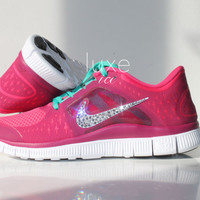 NIKE run free 5.0 running shoes w/Swarovski Crystals detail - Pink / Orange