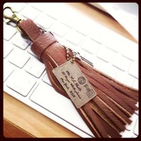 Keychain leather Letter charm for bag purse