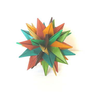 "Modular Origami Ball 4"", Paper Sculpture, Christmas Ornament, Spiky Geometric Fall Forest Colors"
