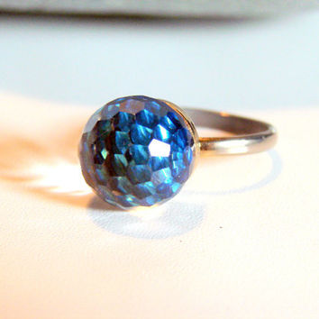 Fun Vintage Disco Ball Ring Size 8 Adjustable