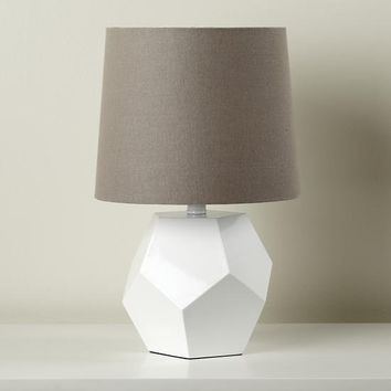 The Land of Nod | Kids Lighting: White Geometric Lamp Base in Table Lamps