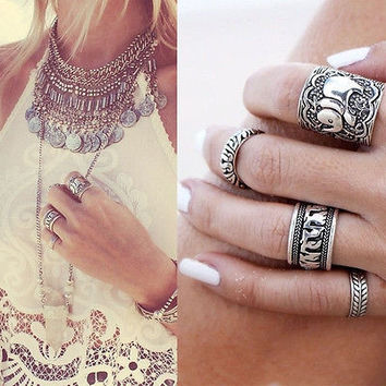 4Pieces Silver Punk Fashion Elephant Ring Set Women Retro Finger Rings Boho
