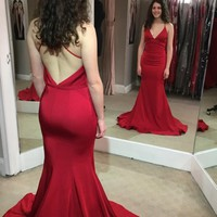 Long Red Prom Dress, Backless Red Evening Dresses