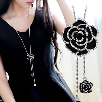 BYSPT Zircon Black Rose Flower Long Necklace Sweater Chain Fashi 0a435d67bb
