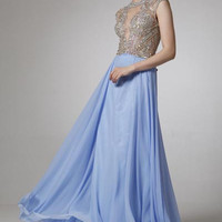 PRIMA 17-8707 Cap Sleeve Jeweled Sheer Illusion Chiffon Prom Dress