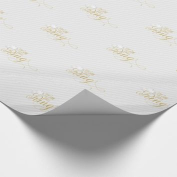 Wedding With this Ring in Faux Gold Foil and White Wrapping Paper