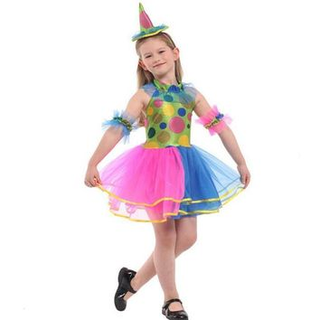 2017 Fashion Kids Girls Colorful Clown Cosplay Costume Children Carnival Circus Performance Costumes Halloween Party Dress Decor