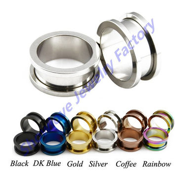 Showlove- Stainless Steel Screw Fit Ear Gauge Plugs Flesh Tunnel Kit  Piercing Hollow Expander Body Jewelry