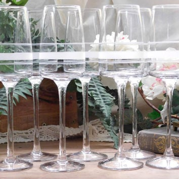 Mid Century Etched Crystal Wine Glasses, Set of 7