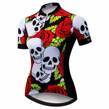 Red Cycling Jersey Women Mtb Mountain Bike Shirt Breathable Ropa Ciclismo Wear Cycling Clothes sPro team ports top Skull summer