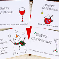 Christmas Postcard Variety Set of 4 Christmas Cards - Martini, Wineglass, Snowman, Latte