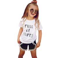 Toddler Baby Girls Short Sleeve T-Shirt + Tassel Short Pant 2pcs Outfit Fashion