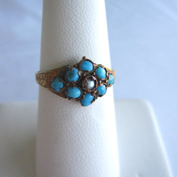 Estate 15k Antique Victorian Ring Hallmarked 15k 625 Anchor Band Persian Blue Turquoise & Seed Pearl Vintage Dainty Edwardian Something Blue