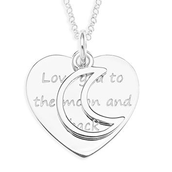 LOVE TO THE MOON AND BACK CHARM DISC - STERLING SILVER