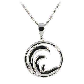 14K White Gold Wave in Circle Pendant(Chain Sold Separately)