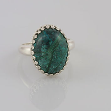 Green and Blue Chrysocolla Cabochon Ring in Sterling Silver