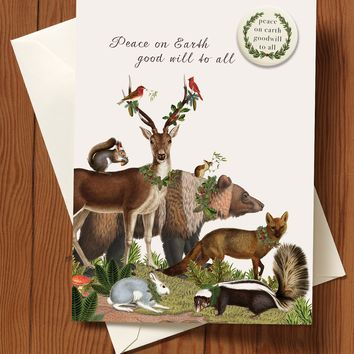Peace On Earth Holiday Greeting Card with pin