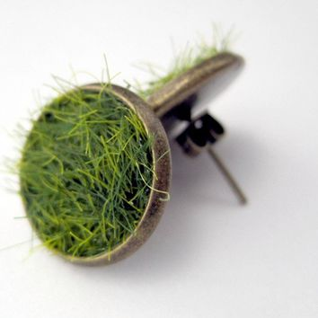 Green Grass Earring Posts