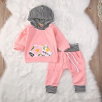 Baby Girls Clothes Newborn Infant Bebek Hooded Sweatshirt Tops+Pants 2pcs Outfits Casual Kids Clothing Set