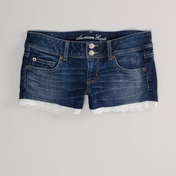 AE Scalloped Hem Denim Shortie - American Eagle Outfitters