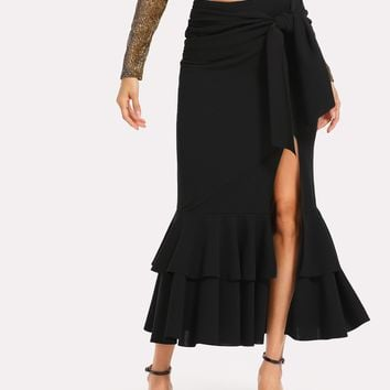 Knot Side Slit Tiered Ruffle Hem Fishtail Skirt