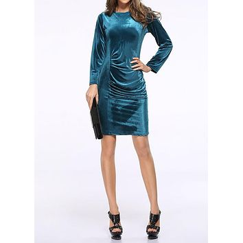 Party Dress Women's Pleated Solid Round Neck Long Sleeve