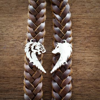 Tiger and Wolf Relationship Bracelets, Heart Jewelry, Couples leather Bracelets