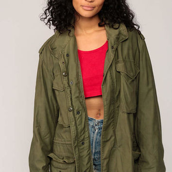 Military Jacket Commando 80s Grunge Coat Army Field Anorak Cargo Cotton Oversized Olive Drab Green 1980s Vintage Camo Utility Medium