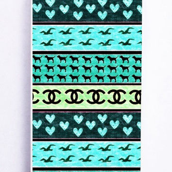 iPhone 5 Case - Rubber (TPU) Cover with red hollister seagulls chanel sign hearts stripes Rubber Case Design