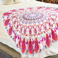Pink Paisley Fringe Beach Towel Throw