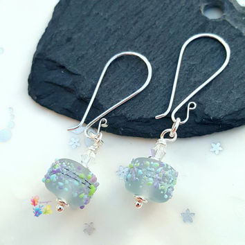 Paradise By Moonlight Earrings, Sterling Silver Earrings, Lampwork Jewellery, Gift for Her, blossom beads, Crystal Earrings, Grey Earrings
