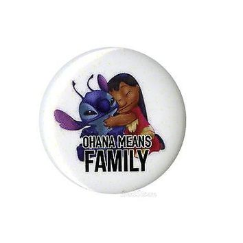 "Licensed cool Disney Lilo and Stitch Hawaii OHANA MEANS FAMILY 1 1/4""  Button Pin Back Pinback"
