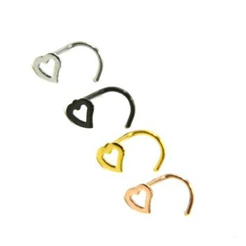 ac PEAPO2Q 2018 FASHION! Hollow Heart Stainless Steel Corner  Nose Screw Rings Studs Piercing Nails