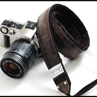 Genuine All Leather DSLR Camera Strap  Black by sizzlestrapz