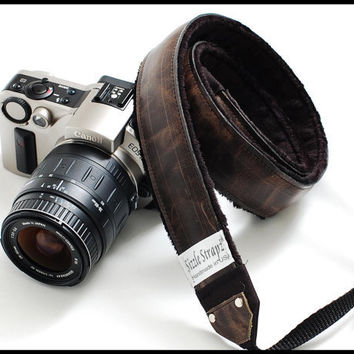 Leather DSLR Camera Strap  Black Forest by sizzlestrapz on Etsy