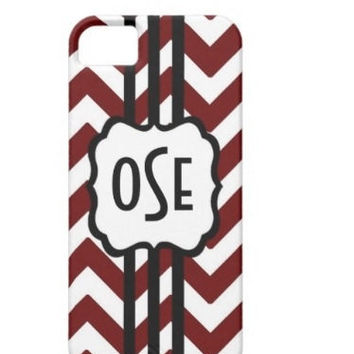 Maroon Aggie Colors Monogram Chevron Phone Case