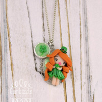 OOAK kawaii st patrick's day necklace, st patricks necklace, Irish necklace, green necklace, Spring jewelry