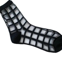 DCCKWJ7 1pair Women Summer Novelty Transparent grid socks Glass Crystal Silk Cool Mesh Knit Sheer socks