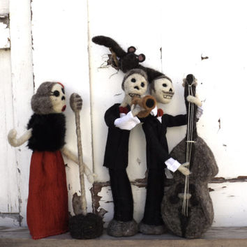 Halloween dead jazz band hand sculpted music creepy scary skeleton needle felted OOAK art dolls