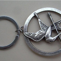 The Hunger Games pendant ,Inspired Mockingjay keychain antique silver