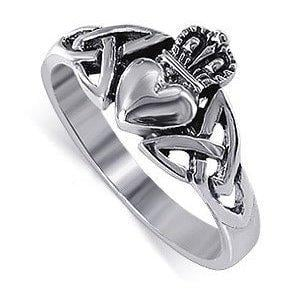 LWRS043-4 925 Sterling Silver Irish Claddagh Love and Friendship Polish Finish Ring Size 4