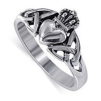 LWRS043-4 925 Sterling Silver Irish Claddagh Friendship and Love Ring