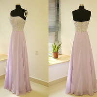 Gorgeous prom dress/ lavender rhinstones evening dress/ handmade party dress/ long a-line prom dress/ elegant formal gown
